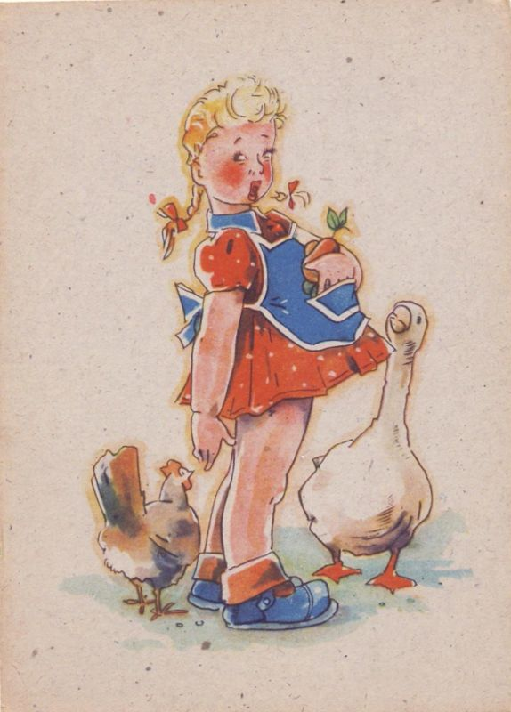 KINDER - Künstler-Karte Mädchen mit Huhn und Gans, 194..