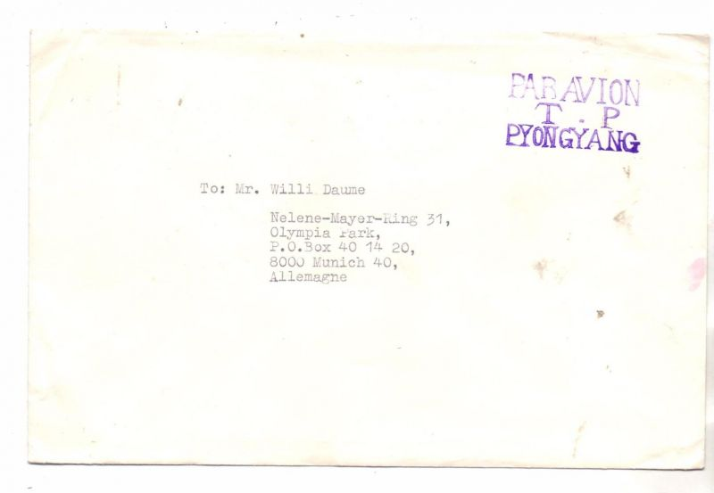 OLYMPIA 1972 MÜNCHEN, Briefumschlag des Olympischen Komitees Nordkoreas an Willy Daume, PYONGYANG T.P.