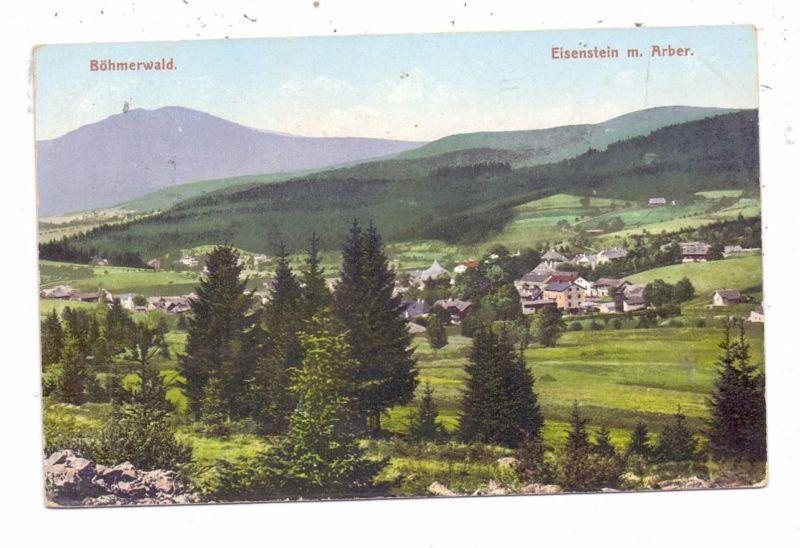 BÖHMEN & MÄHREN - MARKT EISENSTEIN / ZELEZNA RUDA, Ortsansicht mit Arber, 1908