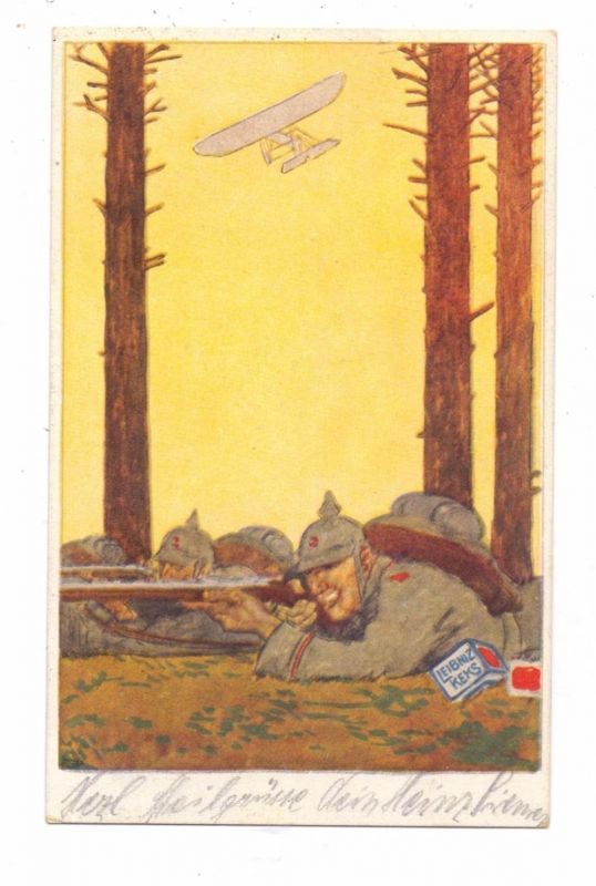 MILITÄR - 1.Weltkrieg, Patriotica, Leipniz / Bahlsen Werbe-Karte, Infanterist / Flieger, 1915, TOP-Erhaltung
