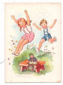 KINDER - Künstler - Karte LOTTE OLDENBURG - WITTIG, Spielende Kinder mit Puppe