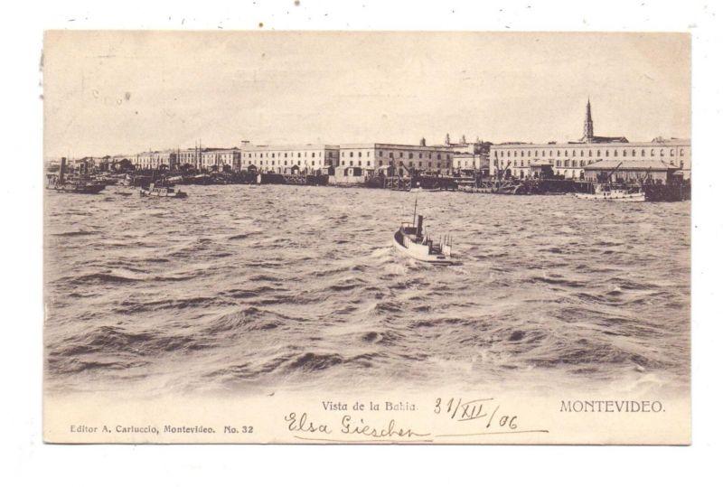URUGUAY - MONTEVIDEO, Vista de la Bahia, 1906/1907, Ed. Carluccio
