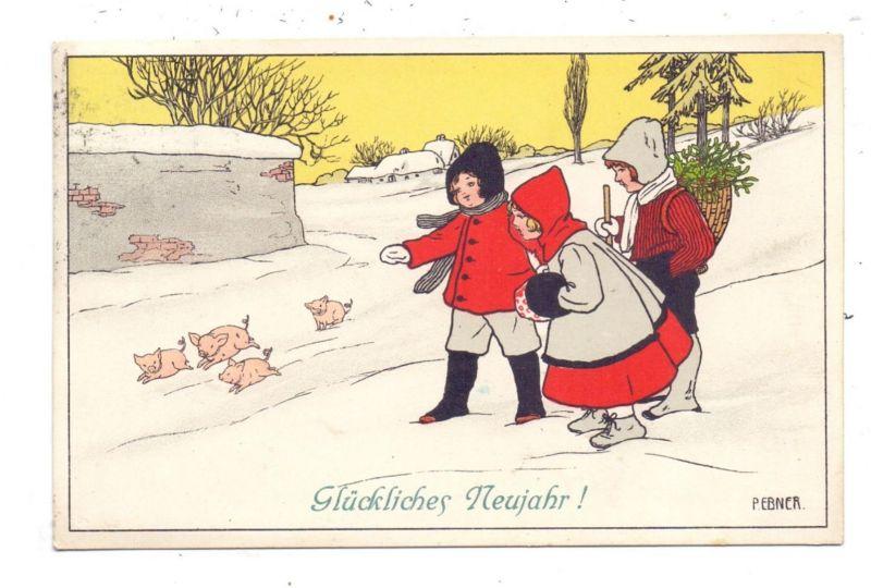 KÜNSTLER / ARTIST - PAULI EBNER, Glückliches Neujahr, Kinder mit Schweinchen, 1910, Munk # 551