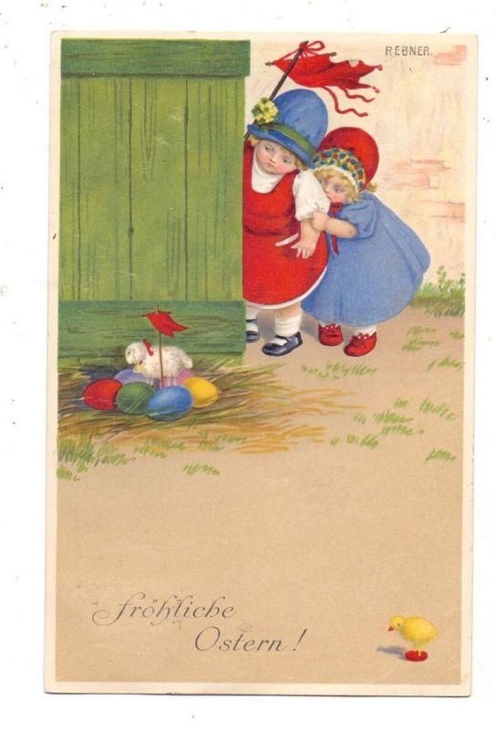 KÜNSTLER / ARTIST - PAULI EBNER, Fröhliche Oster, Kinder mit Osternest, 1914 Munk # 848