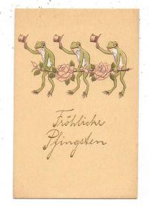 TIERE - FRÖSCHE / Frogs / Kicker / Grenouilles / Rane / Ranas - Frösche mit Zylinder, Kohn-Wien, geprägt/relief/embossed