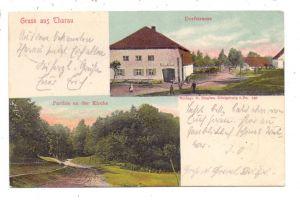 OSTPREUSSEN - THARAU / ERNSTHOF - WLADIMIROWO, Gasthaus Ludwig, Dorfstrasse, Partie an der Kirche, 1904, color
