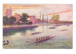 SPORT - RUDERN, Achter Regatta, Künstler-Karte, Munk - Wien, 1903