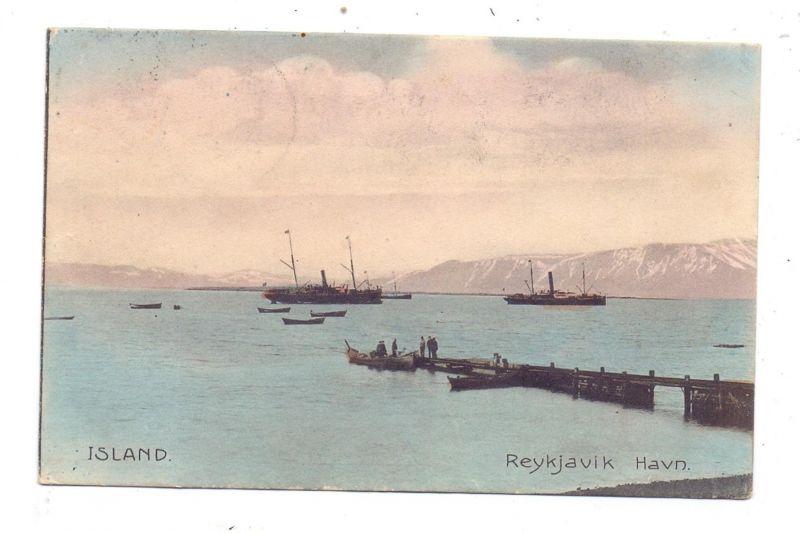 ISLAND - REYKJAVIK, Havn / Hafen / port, 1909, color