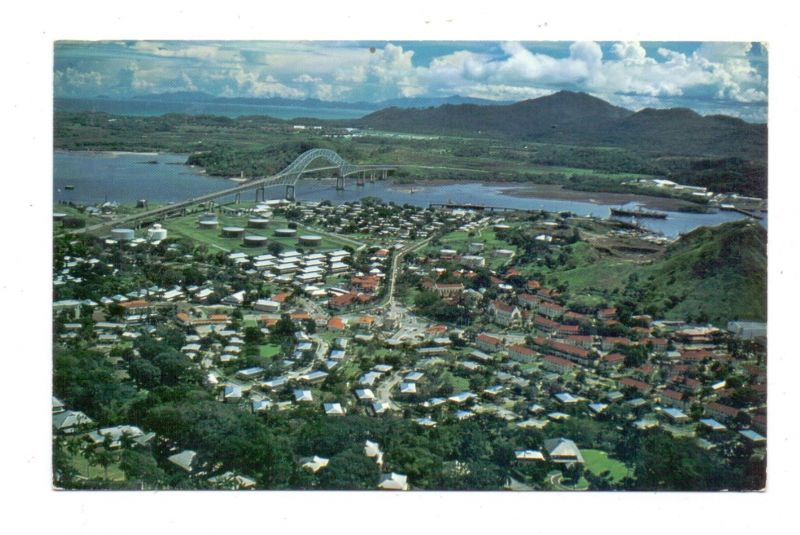 PANAMA - Balboa & La Boca, air view, stamp Polynesie Francaise
