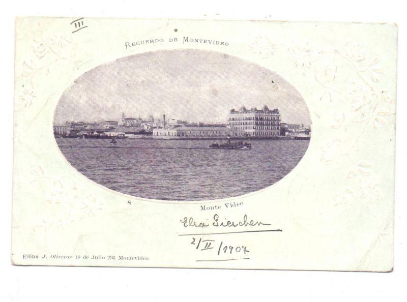 URUGUAY - MONTEVIDEO, Monte Video, 1907, geprägt / embossed / relief