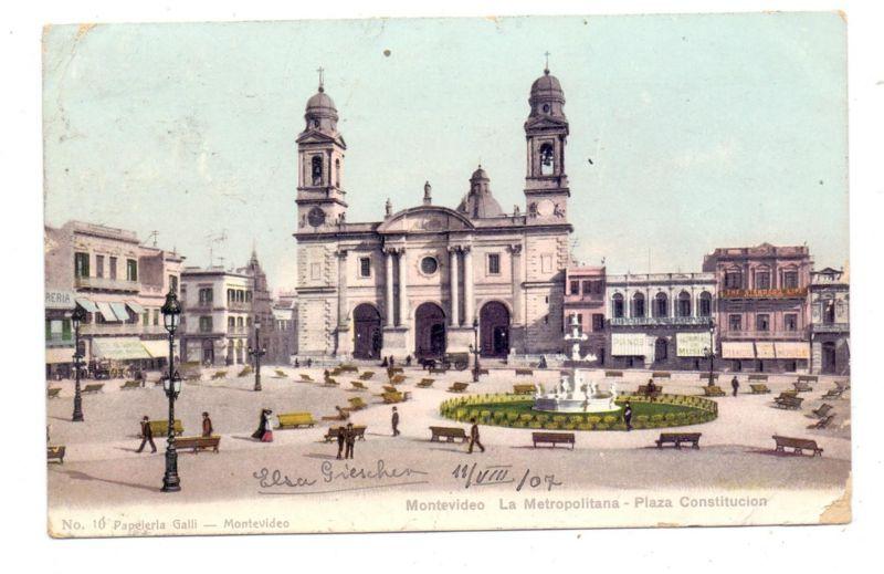 URUGUAY - MONTEVIDEO, Plaza Constitucion, 1907, kl. Eckknick / AF