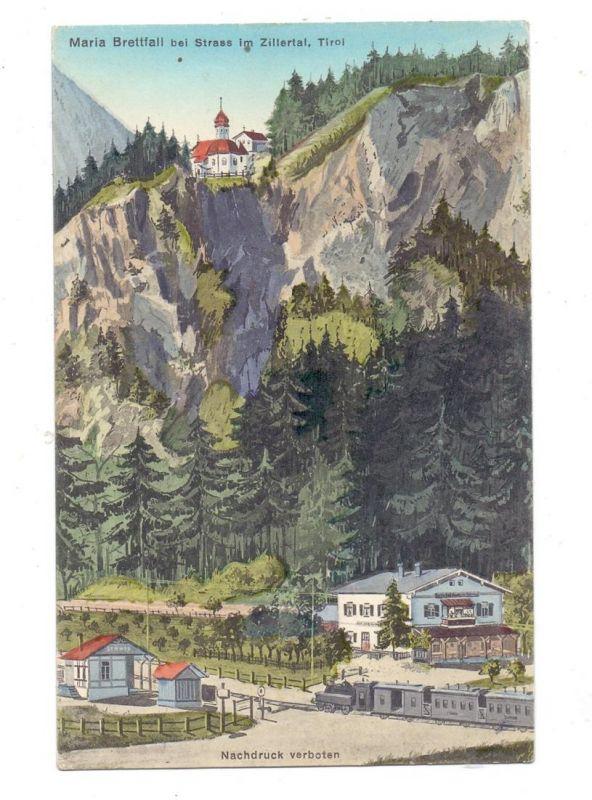 A 6261 STRASS im Zillertal - MARIA BRETTFALL, Wallfahrtsort, Bahnhof, Künstler-Karte