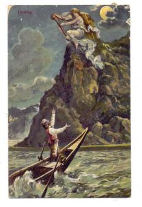 5423 LORELEY, Loreley mit Harfe, Künstler-Karte, 1910