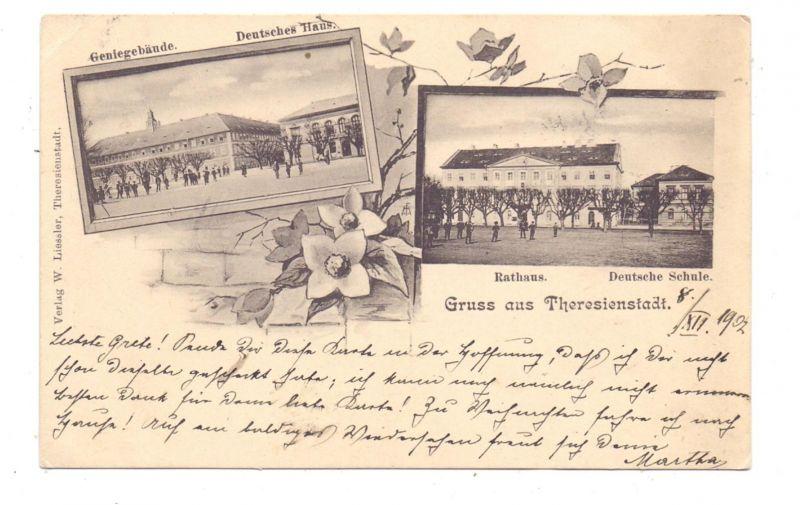 BÖHMEN & MÄHREN - THERESIENSTADT / TEREZIN, Gruss aus..1902, Rathaus, Deutsche Schule
