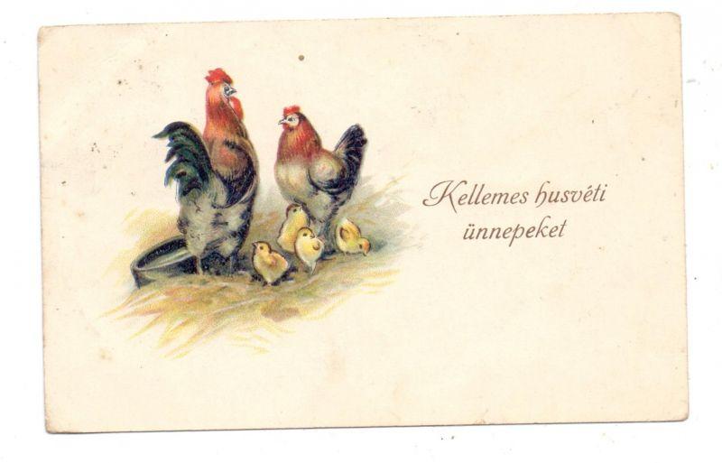 OSTERN - Hahn und Henne mit Küken, 1928