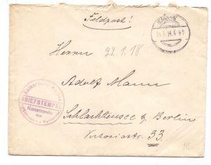 MILITÄR 1. Weltkrieg, Kaiserliche Marine, Luftbildabt. des Marine Luftfahrtwesens , Dt.Feldpost 825