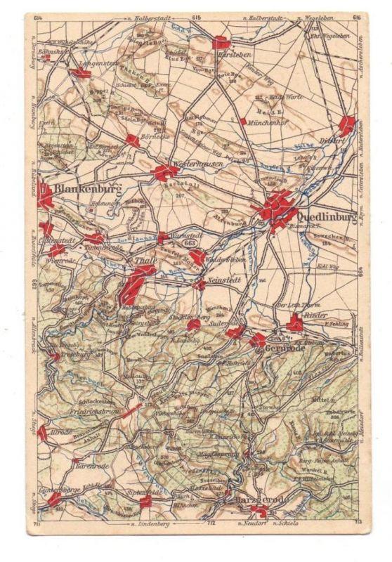 0-4300 QUEDLINBURG und Umgebung, frühe Landkarte, Blankenburg, Thale, Gernrode, Harzgerode...