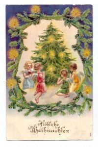 WEIHNACHTEN - Kinder mit Engelsflügeln um einen Weihnachtsbaum, 1906, geprägt / embossed / relief, kl. Druckstelle
