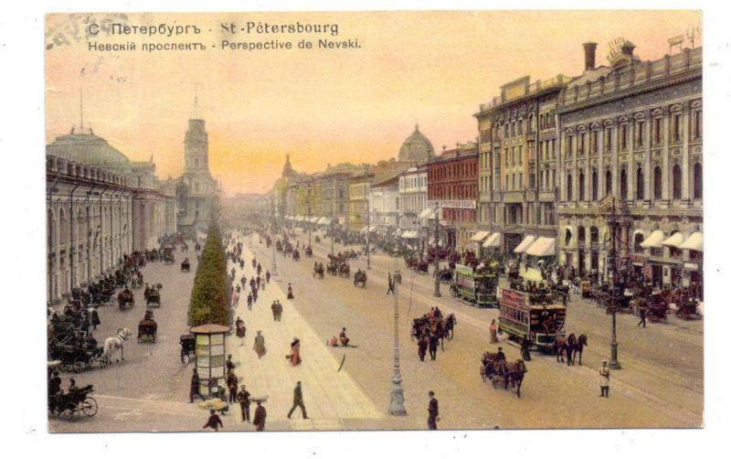 RU 190000 SANKT PETERSBURG, Newski Prospekt, Pferdestrassenbahn, Horse-Tramway