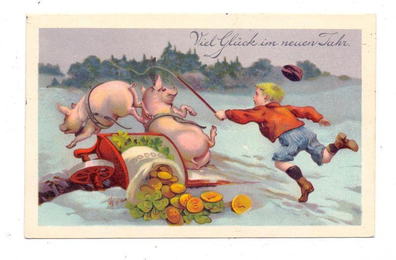 SCHWEINE - Pigs / Porcs / Maiali / Varkens / Cerdos - Zwei Schweine mit Geldschubkarre von Jungen verfolgt, 1928