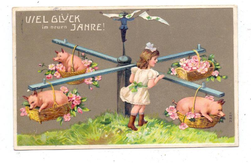 SCHWEINE - Pigs / Porcs / Maiali / Varkens / Cerdos - Schweinekarussell, geprägt / embossed / relief, 1911