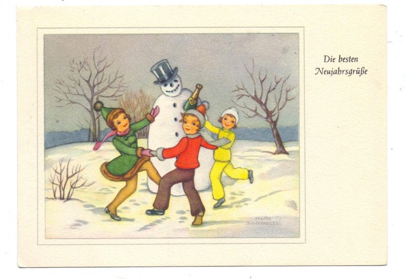KINDER - 3 Kinder tanzen um Schneemann
