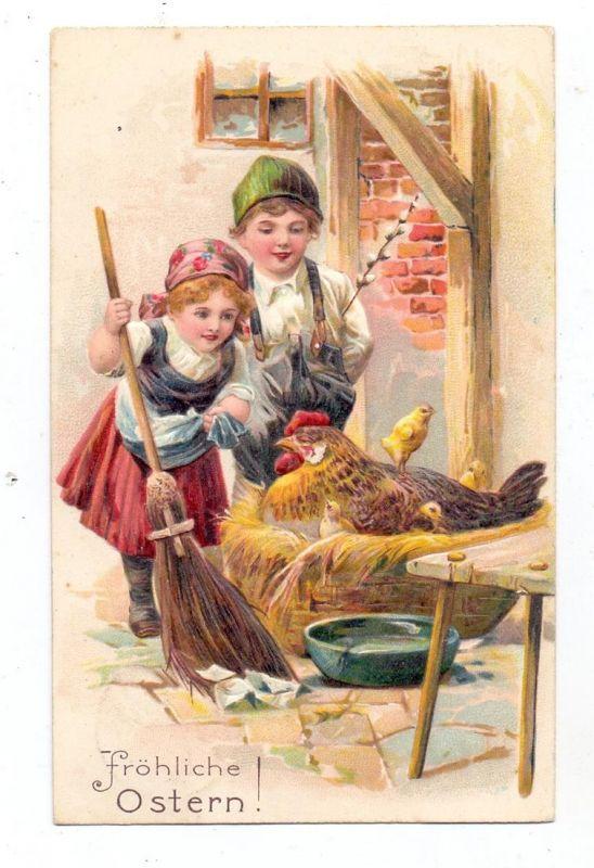 OSTERN - Kinderpaar mit Henne und Küken, geprägt / embossed / relief, 1903
