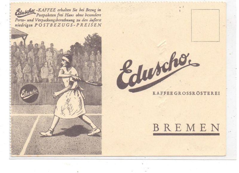 SPORT - TENNIS, Werbe-Karte Eduscho-Kaffee, Schrift etwas durchgedrückt