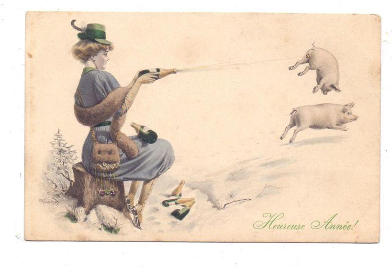 SCHWEINE - Pigs / Porcs / Maiali / Varkens / Cerdos - Neujahrs-Karte, Kuderny, Wiener Kunst, Munk # 475