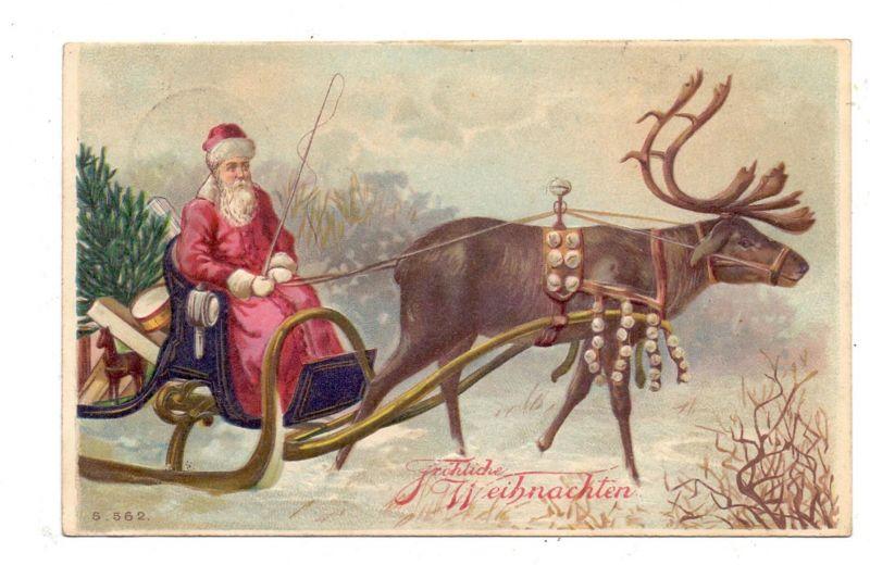 WEIHNACHTEN - WEIHNACHTSMANN / SANTA mit Rentier / Rendier, 1908, geprägt / embossed / relief