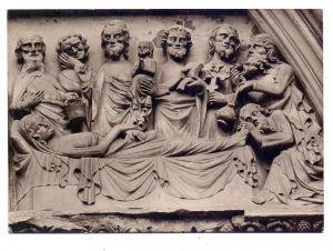 7300 ESSLINGEN, Frauenkirche, Marienportal, Tod der Maria