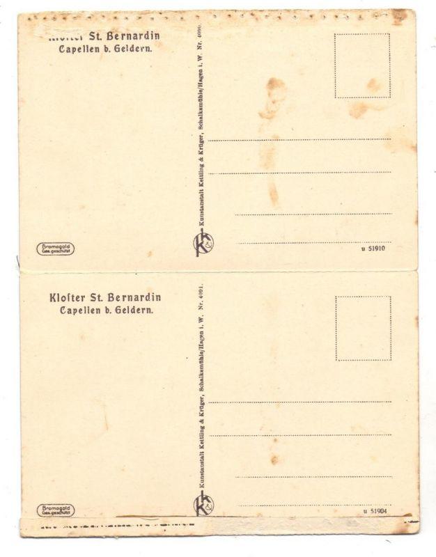 4170 GELDERN - KAPELLEN, Kloster St. Bernardin, 2 AK aus Leporello, die obere am Rand handperforiert 1