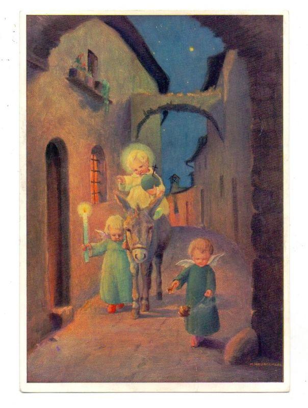 KINDER - 3 Kinder mit Engelsflügeln und einem Esel, Künstler-Karte Schönermark 0