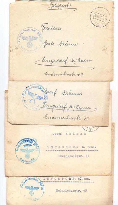 NIEDERLANDE - Deutsche Besetzung 1941, 4 Feldpost Briefe, Marine-Hafen Abt. Rotterdam, Feldpost-Nr. 00218