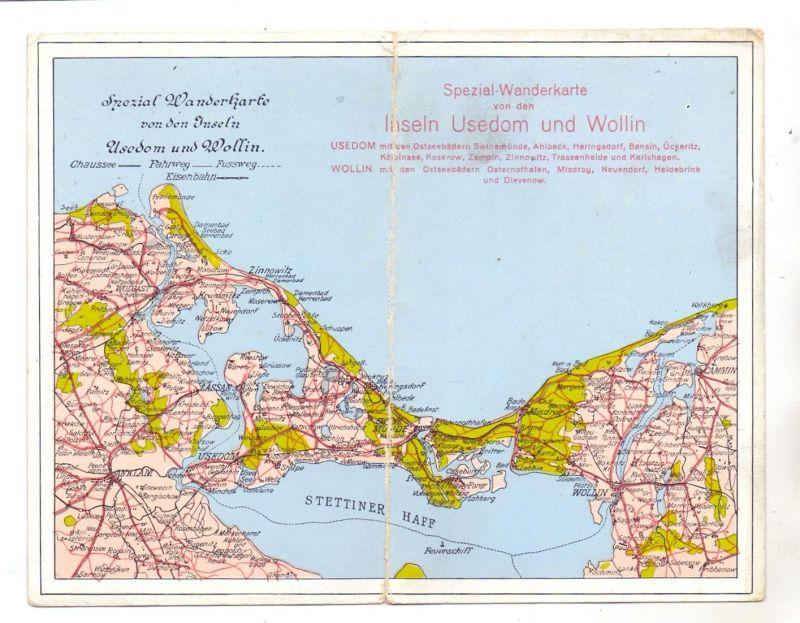 POMMERN - WOLIN / WOLLIN  & USEDOM, Klapp-Karte Stettiner Haff