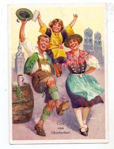 8000 MÜNCHEN, Gruß vom Oktoberfest 1953, Trachten, Münchner Kindl
