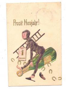 BERUFE - SCHORNSTEINFEGER / CHIMNEY SWEEPER, Schornsteinfeger reitet auf Champagnerflasche, geprägt / embossed