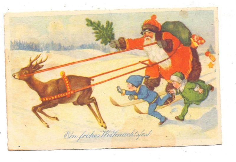 SANTA / WEIHNACHTSMANN, Weihnachtsmann auf Skiern mit Kindern und Rentier, 1925