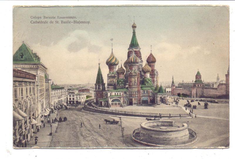 RU 101000 MOSKWA / MOSKAU, Cathedrale St. Basile-Blajennoy, kl. Einriss, Bahnpost / TPO / ambulant, 1911