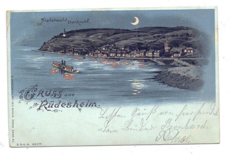 6220 RÜDESHEIM, Niederwald-Denkmal, Lithographie 1903, Halt gegen das Licht / Hold to Light 0