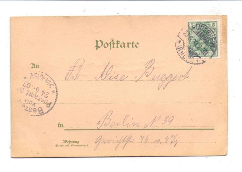 6220 RÜDESHEIM, Niederwald-Denkmal, Lithographie 1903, Halt gegen das Licht / Hold to Light 1