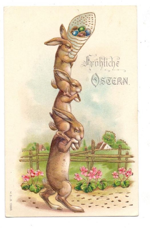 OSTERN, Hasenturm, 1907, geprägt / embossed / relief