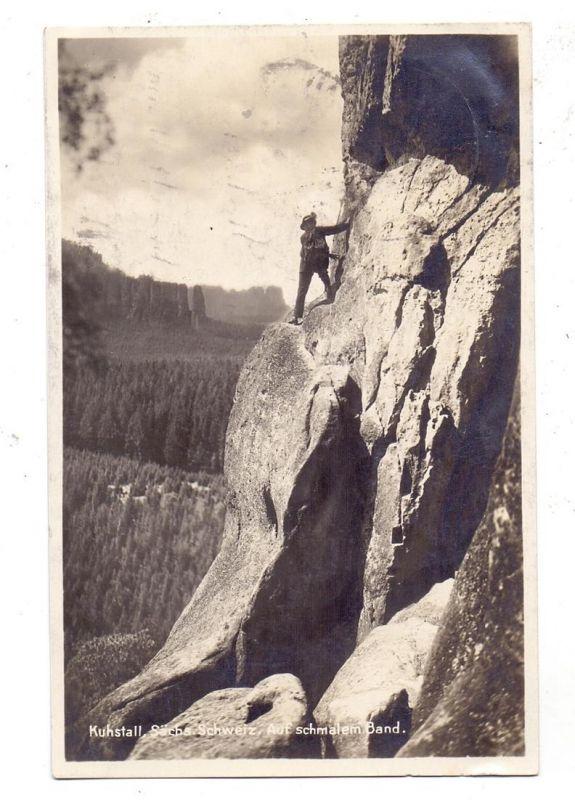 SPORT - BERGSTEIGEN / Climbing, Sächsische Schweiz,  Am schmalen Band
