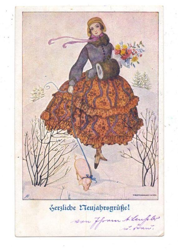 KÜNSTLER - ARTIST - MELA KÖHLER, Herzliche Neujahrsgrüße, Dame mit kleinem Schwein, Deutscher Schulverein, 1921