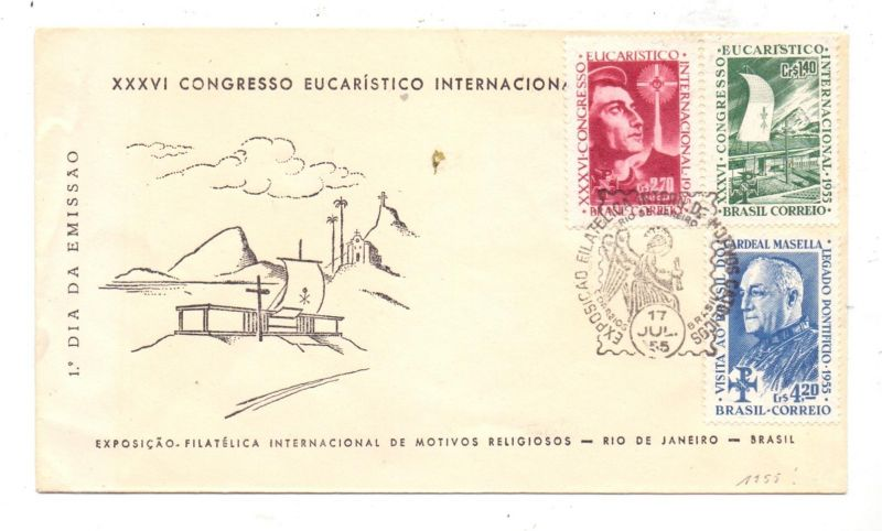 BRASIL, 1955, Michel 881-883, Eucharistischer Kongress, Kardinal Masella, Sonderstempel