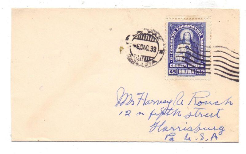 BOLIVIA, 1939, Michel 312, Eucharistischer Kongress, Einzelfrankatur in die USA