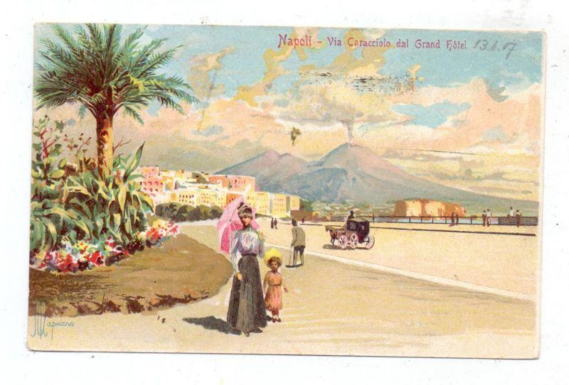 I 80100 NAPOLI / NEAPEL, Via Caracciolo dal Grand Hotel, 1907, Künstler/ Artista Mapuano