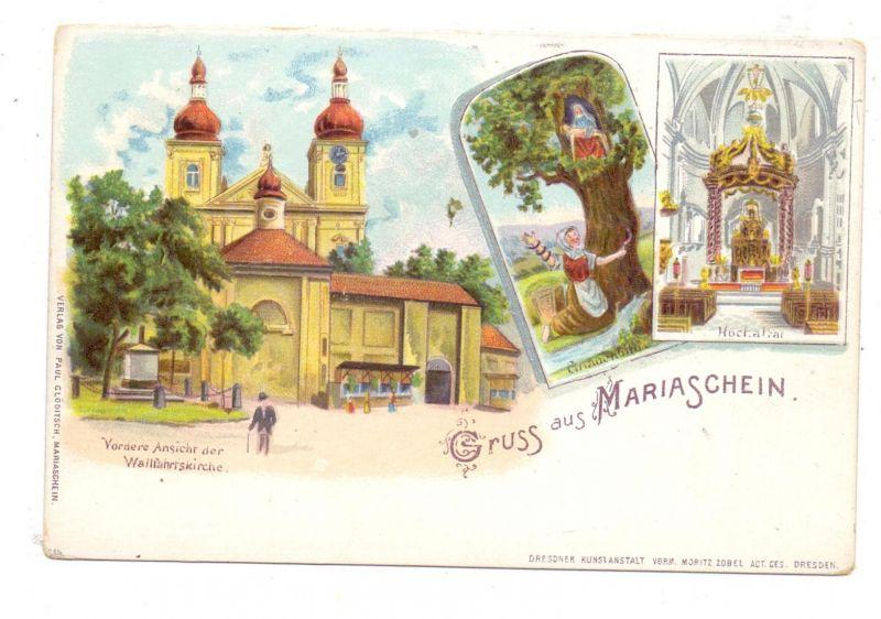 BÖHMEN & MÄHREN - MARIASCHEIN / BOHOSUDOV, Lithographie, Wallfahrtskirche, Gnadenbild, Hochaltar