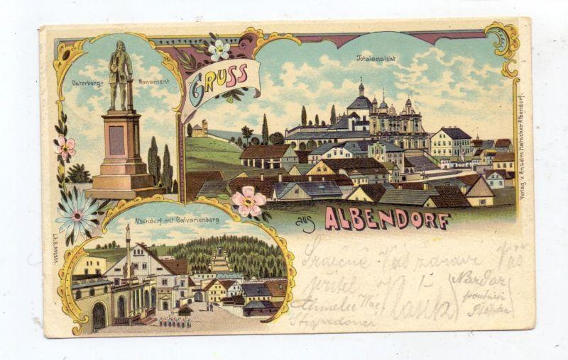 NIEDER-SCHLESIEN - ALBENDORF / WAMBIERZYCE, Lithographie 1900, Osterberg-Monument, Calvarienberg, Totalansicht