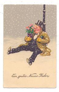 HUMOR - Betrunkener mit Sektflasche und Blumen, kl. Druckstelle